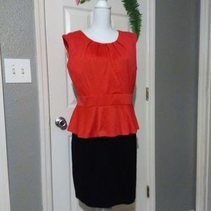 ORANGE BLACK PEPLUM WAIST DRESS